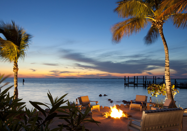 The firepit with ocean views at the resort.