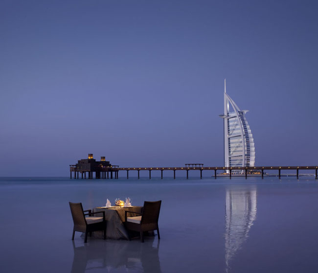 A romantic beach dinner at Madinat Jumeirah.