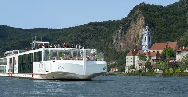 The Viking Freya sailing in Austria. The river cruise line announced plans to introduce itineraries in North America.