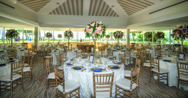 A wedding reception set up in The Everglades room with Gulf views.