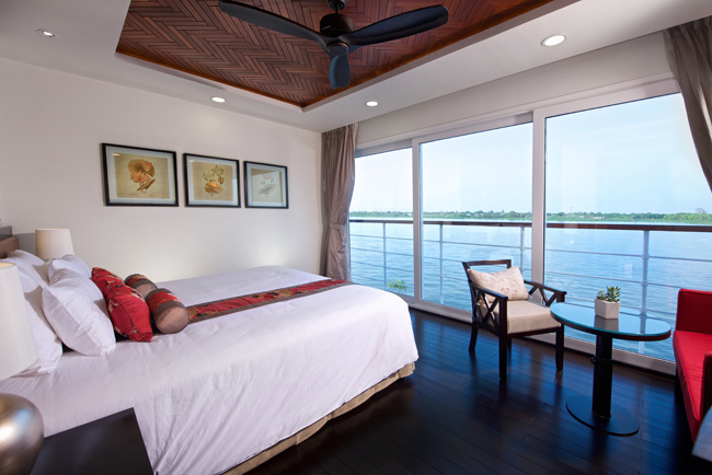 Open-air balcony views aboard Avalon Waterways new Suite Ship, the Avalon Siem Reap.
