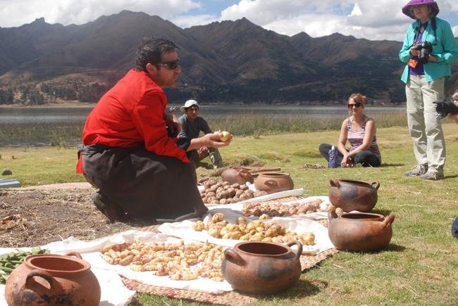 Getting ready for the local favorite, pachamanca, in Peru.