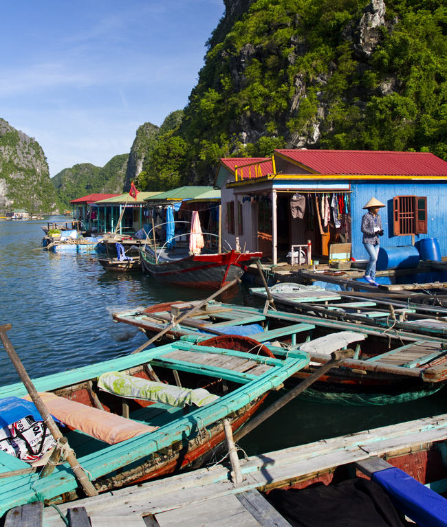 A floating village in Ha Long Bay.