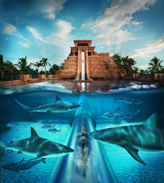 The Mayan Pyramid at Atlantis, Paradise Island.