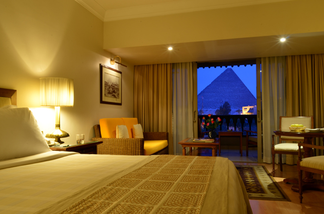View of the Pyramids from the Mena House Hotel.