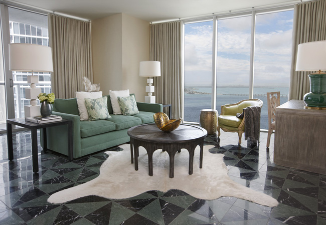 A residentially-appointed guestroom at the Viceroy Miami.