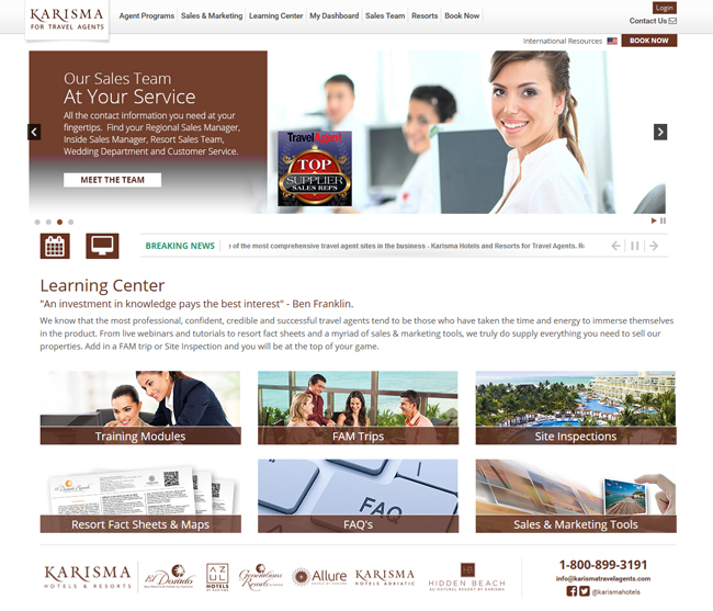 Karisma's travel agent portal.