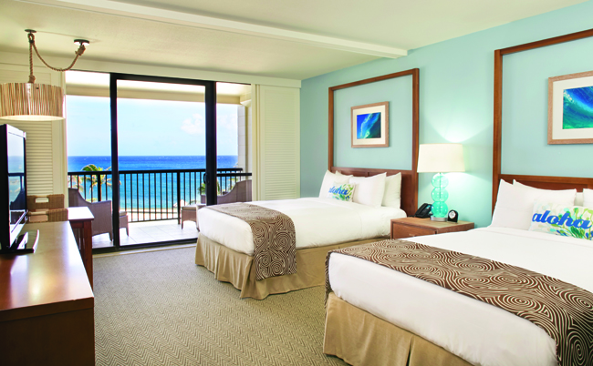 Turtle Bay Resorts' guest rooms have been revamped in chic neutral decor.