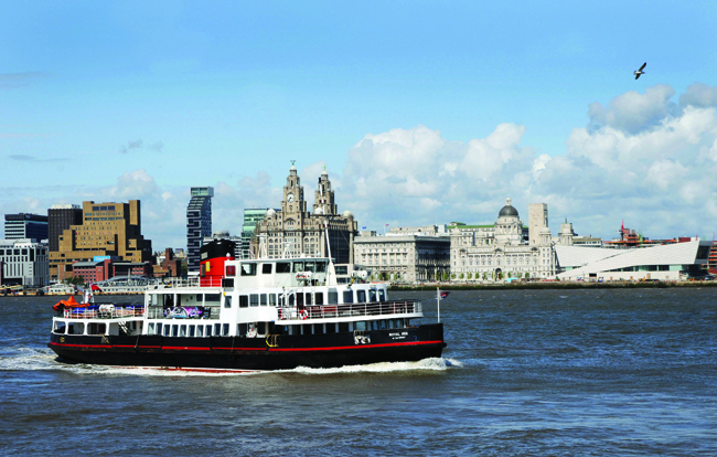 A ferry on the Mersey River  is the best way to see  Liverpool's waterfront.