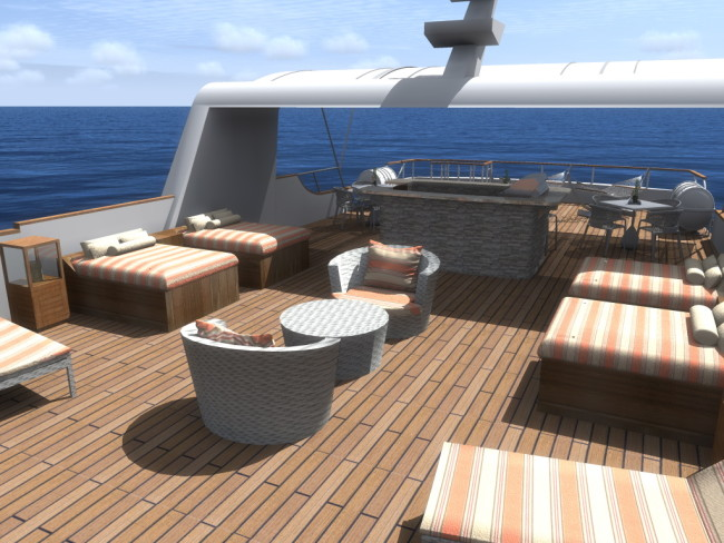 Rendering of the deck aboard Ecoventura's MS Origin.