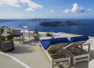 Views from the Deluxe Room terrace. (Photo courtesy of Iconic Santorini.)