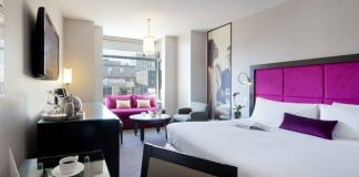 The Gansevort Meatpacking's Grand Deluxe King guestroom.