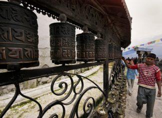 The Nepal Kathmandu Spinning Prayer Wheels.