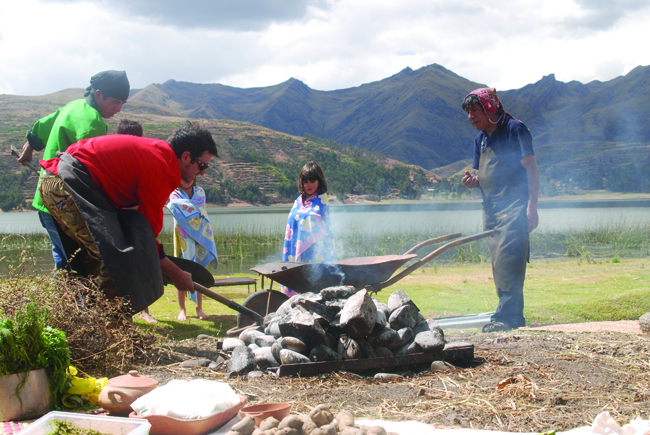 Stones provide the heat when steam-cooking a  pachamanca.