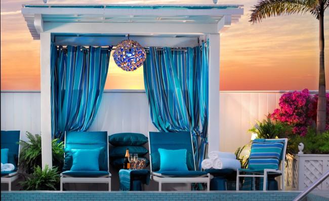 The renovated LIQUID pool lounge area at Ocean Key Resort.