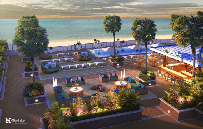 Rendering of the 11th Floor Rooftop at Margaritaville Hollywood Beach Resort.