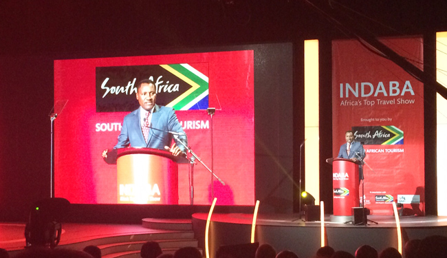 CEO Thulani Nzima speaking at INDABA's opening ceremony.