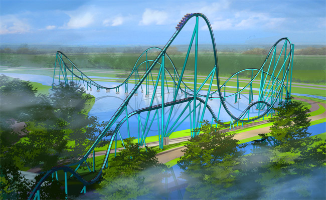 Rendering of the Mako  hypercoaster at SeaWorld Orlando.