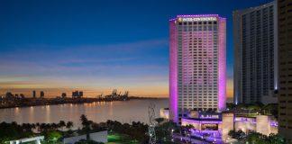 Night views of the InterContinental Miami.