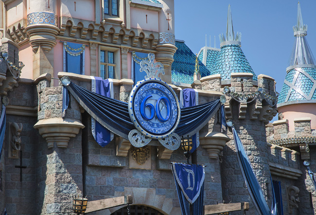 The Sleeping Beauty Castle at Disneyland park is adorned with a special medallion and draped in dazzling diamonds to commemorate the Diamond Celebration at the Disneyland Resort .(Photo credit: Paul Hiffmeyer/Disneyland Resort)