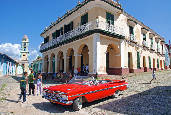 Vintage car in Cienfuegos. (Photo courtesy of Cuba Travel Services.)