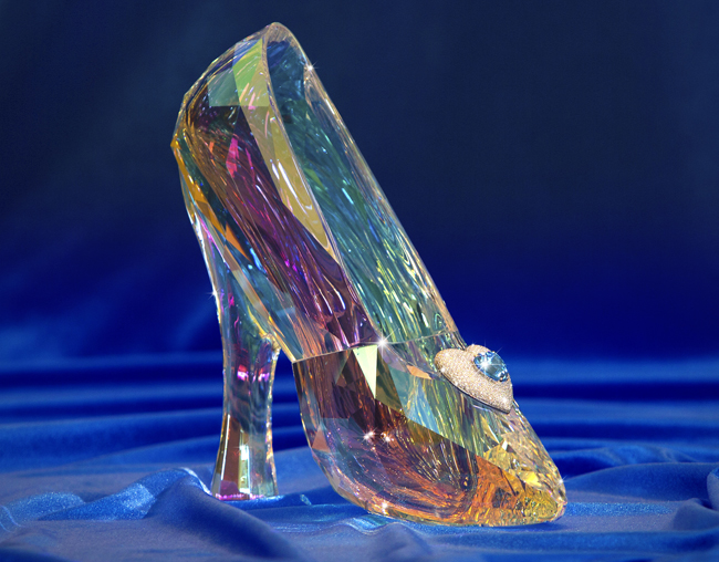 A Cinderella slipper, in clear crystal and adorned with a topaz pendant and a specialty diamond, is one of the prizes available to win in the Disneyland Diamond Days sweepstakes. (Photo courtesy of Disneyland Resort)