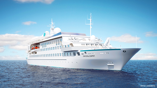 The new Crystal Esprit marks the debut of the new all-inclusive Crystal Yacht Cruises.