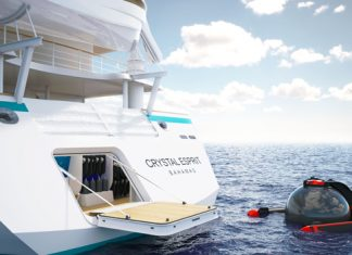 Rendering of the Crystal Esprit marina and the submarine.
