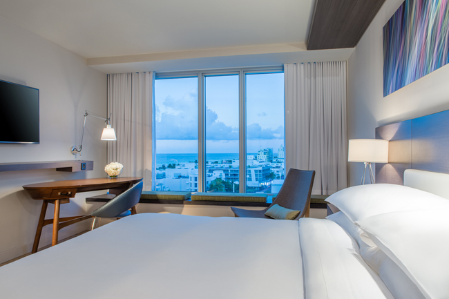 Guestrooms at the new Hyatt Centric South Beach Miami.