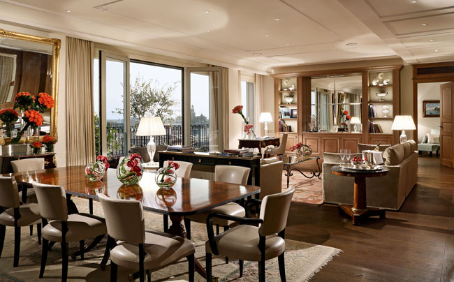 The living room of the Presidential Suite at the Palazzo Parigi Hotel & Grand Spa.