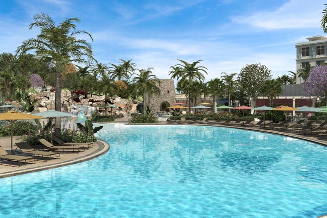 Rendering of the resort's pool area.