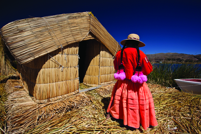 Uros floating islands, Titikaka Lake.