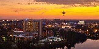Sunset views of the Wyndham Lake Buena Vista Resort.