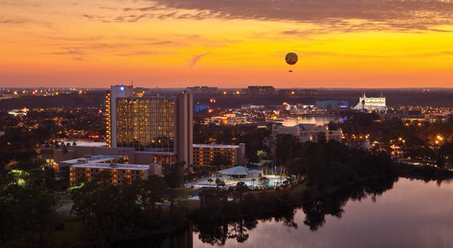 Sunset views of the Wyndham Lake Buena Vista Resort.