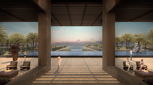 Rendering of the open-air lobby at the JW Marriott Los Cabos.