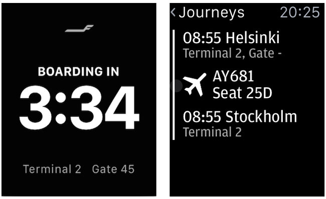 A screenshot of the Finnair App Apple Watch.