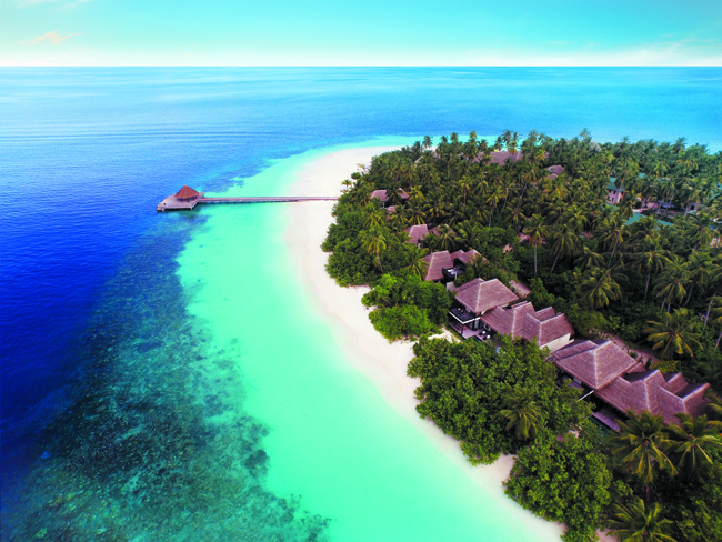 An aerial view of the Outrigger Konotta Maldives Resort.