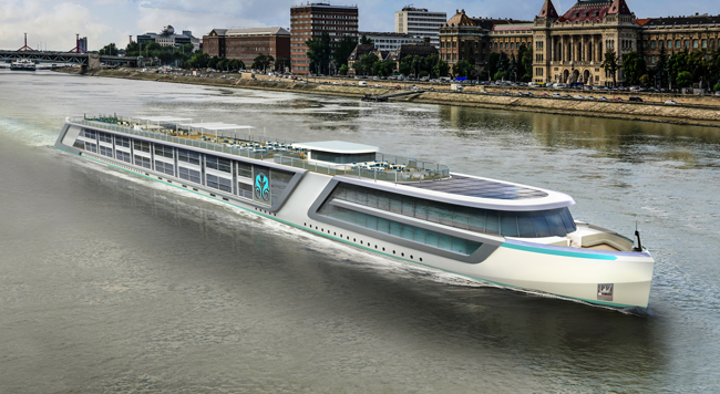 Rendering of Crystal Cruises' new Crystal River Cruise vessel.