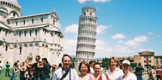 Guests at the Leaning Tower of Pisa in Italy.