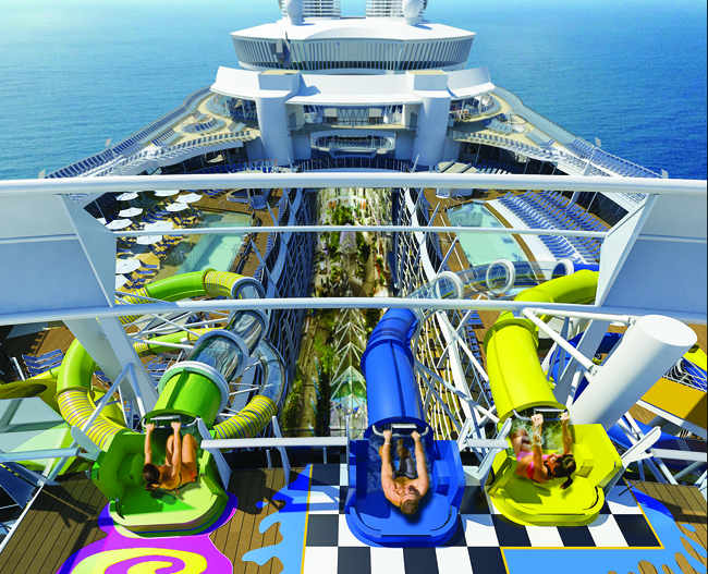 The Perfect Storm Trio of  waterslides on board Harmony of the Seas, set to debut in May 2016.