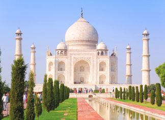 The Taj Mahal in Agra, India.