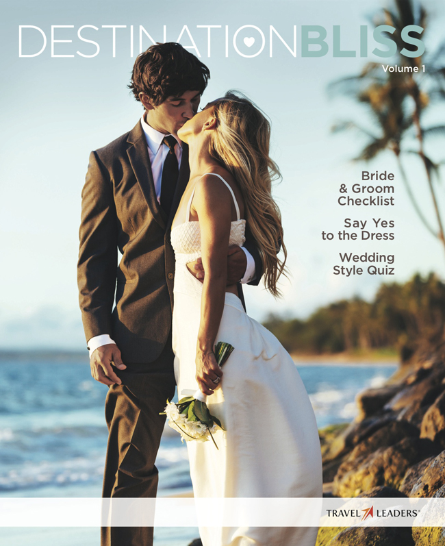 The first cover of Travel Leaders' honeymoon and destination wedding planning magazine Destination Bliss.