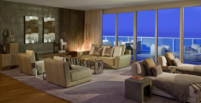 The living room inside the W Fort Lauderdale's Extreme WOW Suite.