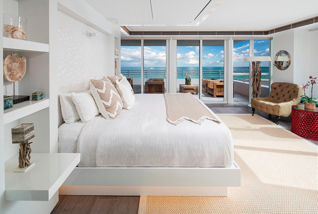 The master bedroom in the Hilton Bentley's Penthouse Presidential Suite.