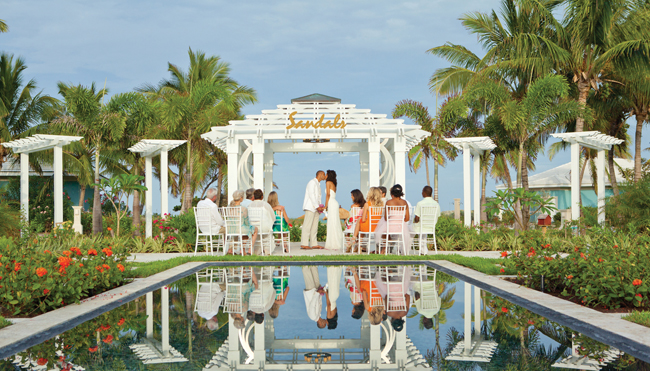Couples receive a free wedding when they book three or more nights at a Sandals or Beaches Resorts hotel.