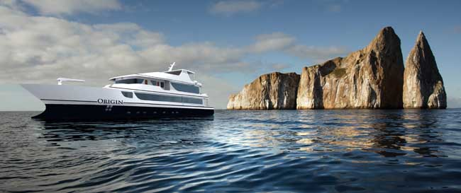 Ecoventura's newest luxury ship, MV Origin, makes its inaugural voyage through the Galapagos Islands in January 2016.