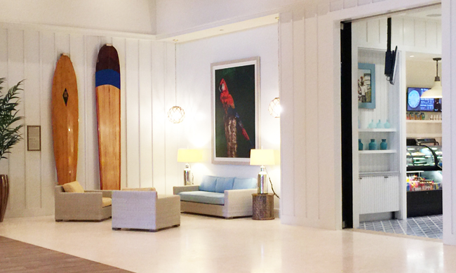 Surfboards from Buffett's personal collection adorn one of the lobby walls.