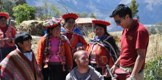 On Condor Travel's Llama Trek Trail, guests visit indigenous weaving community.