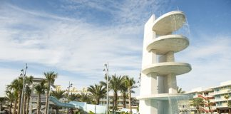 Universal's Cabana Bay Beach Resort is a retro-inspired hotel featuring two zero-entry pools, a dive tower waterslide and a lazy river.