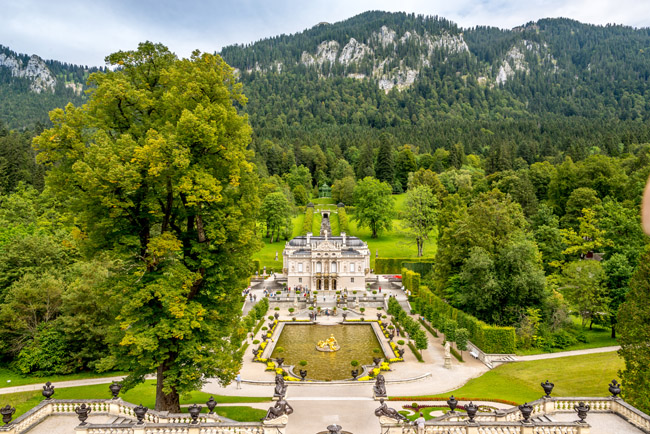 View at the Linderhof castle in Germany.
